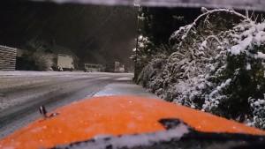 Årets første sne tur 2015. Hjem fra velomobilcenter.dk
