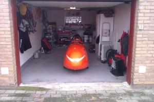 Hjemme i velomobil garagen